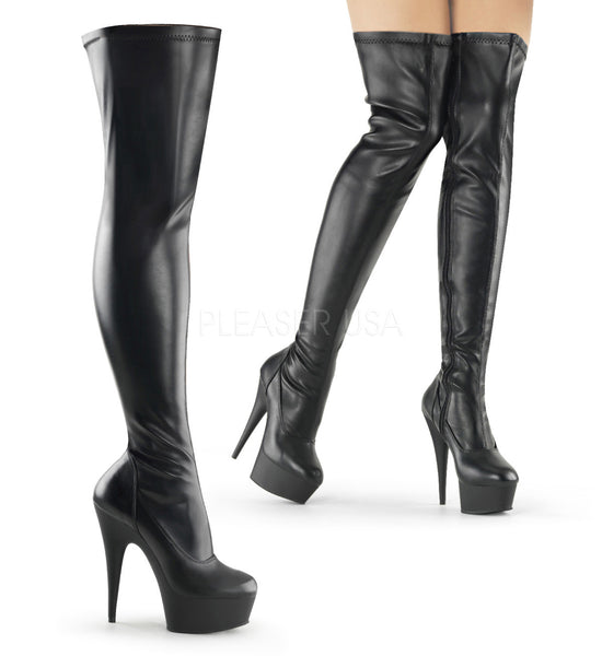 Pleaser Black Thigh High Boots
