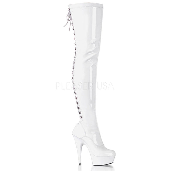 Pleaser White Patent Knee High Boots