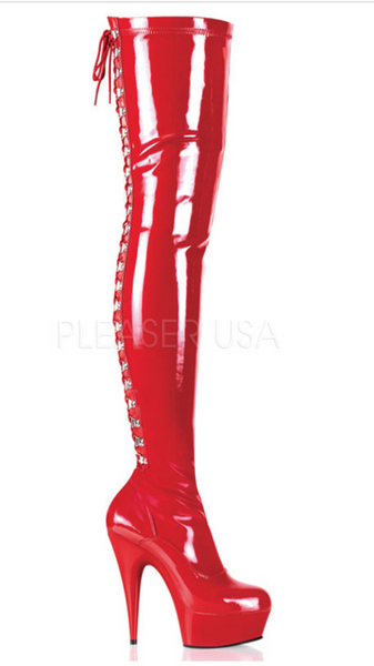 Pleaser Delight 3063 Patent Red Thigh High Boots
