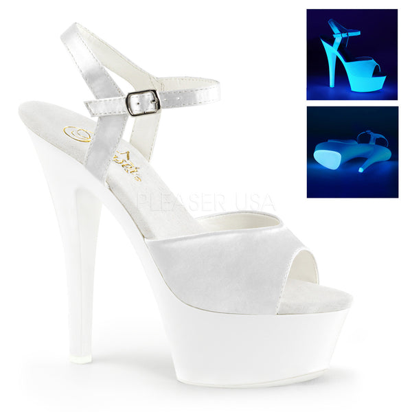 Pleaser White UV High Heel Sandals