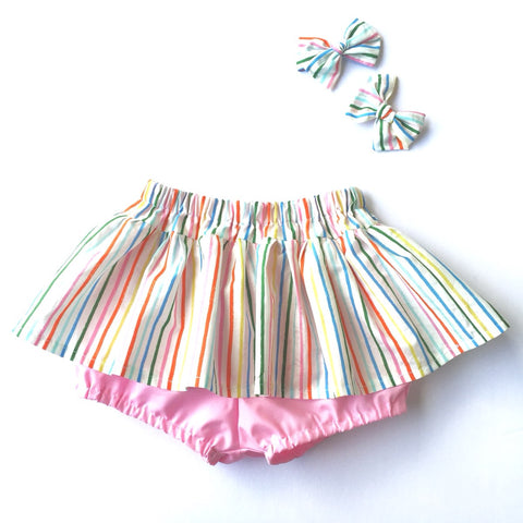 Rainbow Child Skirted Bloomer with Sophia & Co Bow set
