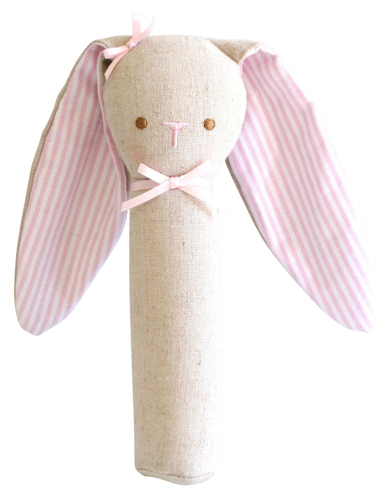 Bunny Rattle & Squeaker Linen - Pink - Little Me Little You