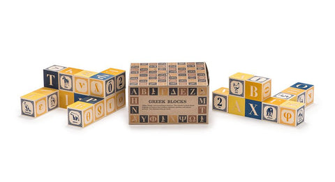 Wooden Greek ABC Blocks - Little Me Little You
