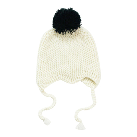 White Merino Pom Pom Hat - Little Me Little You
