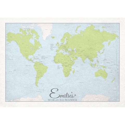 Personalised 'World to Wander' - Traditional Map