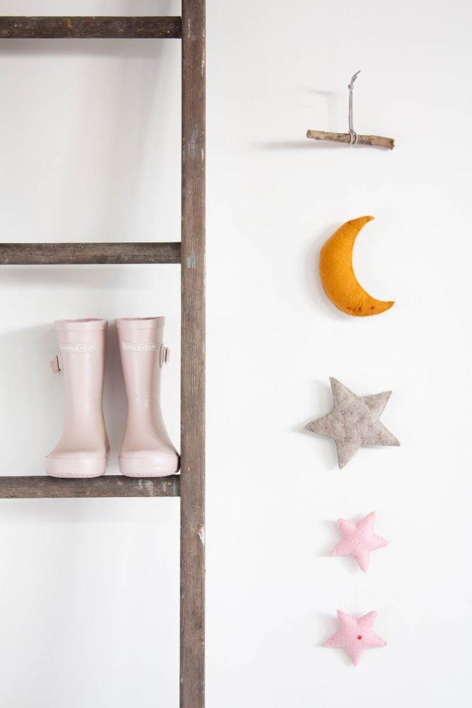 Moon and Stars Wall Hanging - Pink Stars - Little Me Little You