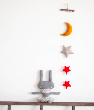 Moon and Stars Wall Hanging - Red Stars - Little Me Little You