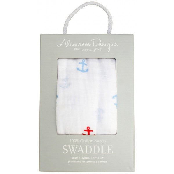100% Cotton Muslin Swaddle - Anchors - Little Me Little You