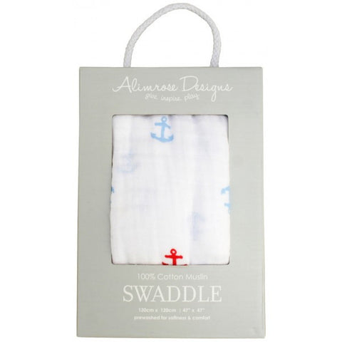 100% Cotton Muslin Swaddle - Anchors
