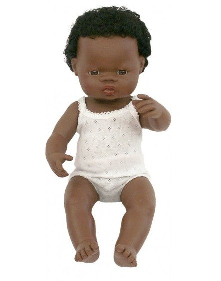Anatomically Correct Baby Doll - African Boy - 38cms