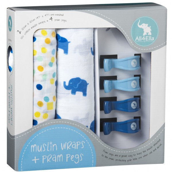 Muslin Wrap & Pram Pegs - Blue Elephant & Spots - Little Me Little You