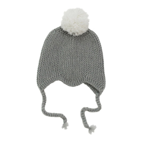 Grey Merino Pom Pom Hat - Little Me Little You