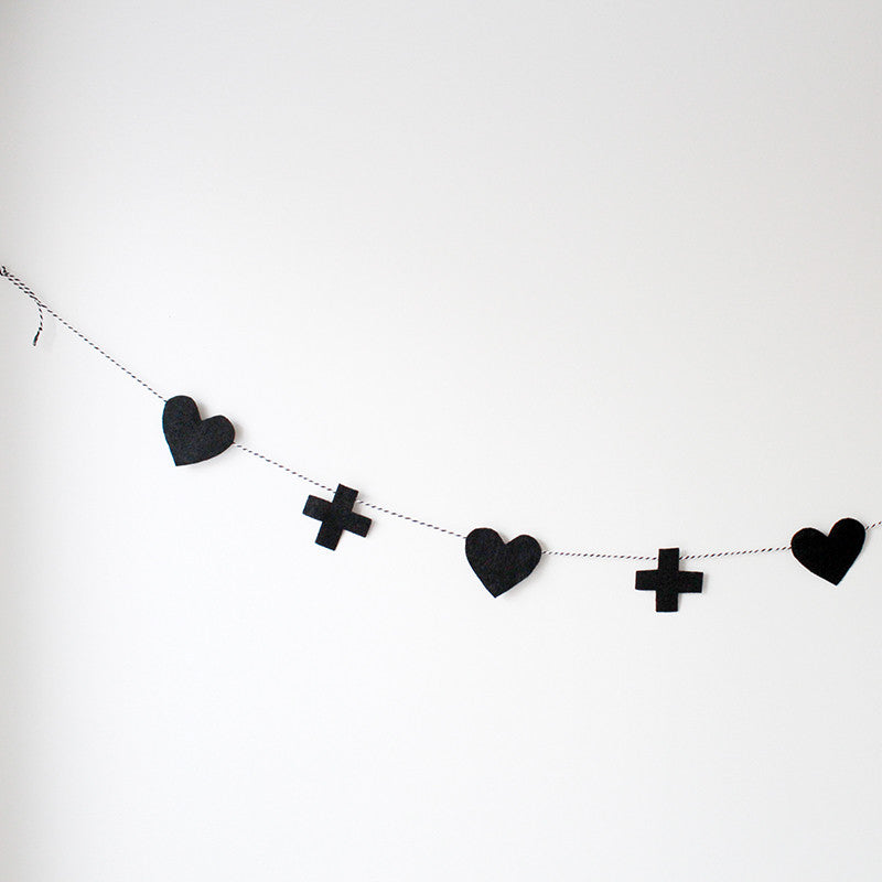 Hearts and Crosses Felt Garland - Little Me Little You