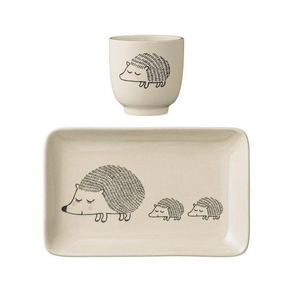 Ceramic Hedgehog Plate & Cup Set