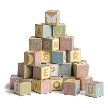 Pastel Wooden Letter And Number Blocks