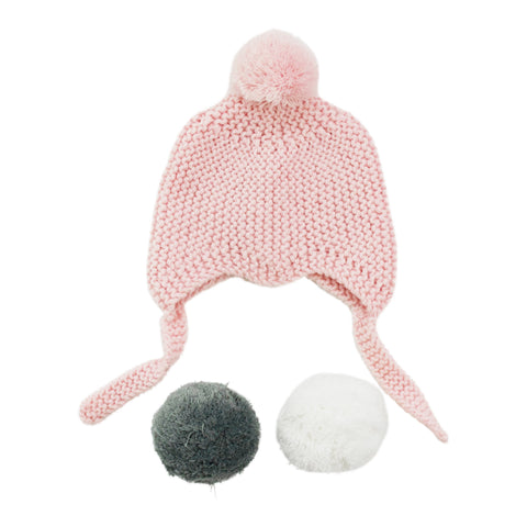 Pink Merino Pom Pom Hat - Little Me Little You