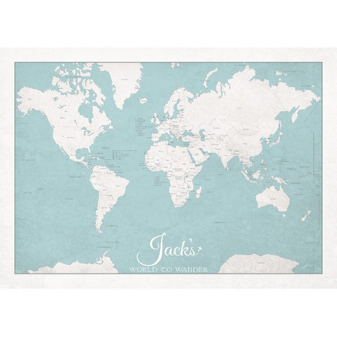 Personalised 'World to Wander' - Sea Spray Blue