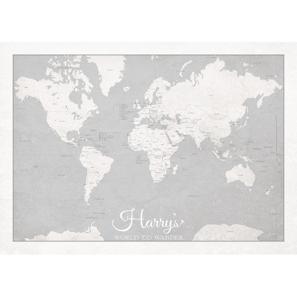 Personalised 'World to Wander' - Soft Grey