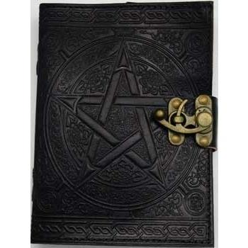 "Black Pentagram Leather Journal with Latch, 5"" x 7"" - Earthly Alchemist"