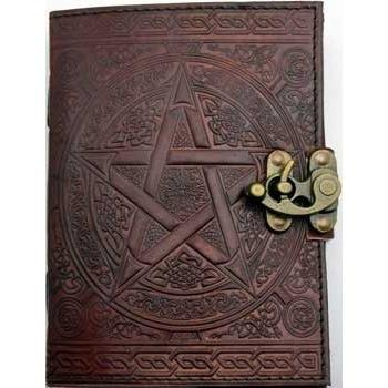 "Brown Pentagram Leather Journal with Latch, 5"" x 7"" - Earthly Alchemist"