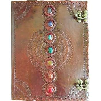 "Chakra Leather Journal with Latch, 10"" x 13"" - Earthly Alchemist"