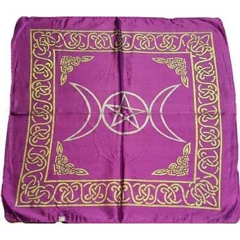 "Triple Moon Purple Altar Cloth, 18""x18"" - Earthly Alchemist"