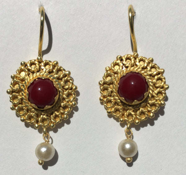 Emma Gemstone Earring with Pearl Drop - Coral