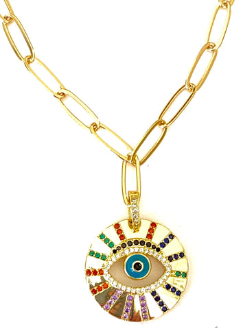 Rainbow Eye Pendant Necklace