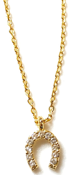 Crystal Horseshoe Pendant on Gold Chain Necklace