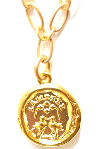 Friendship Pendant on Matte Gold Necklace
