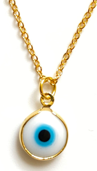 Evil Eye Pendant on Gold Chain Necklace - White