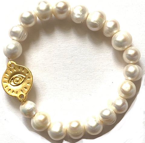 Pearl and God's Eye Bracelet