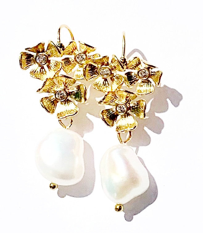 Flower Cluster Earring with Pearl Drop