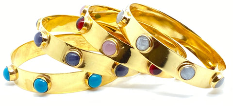 Riggs Gold Bangle with Semiprecious Stones