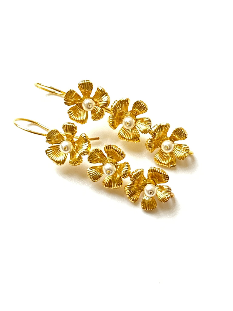Triple Flower Earring with Pearls