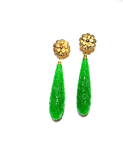 Jade and Gold Earrings