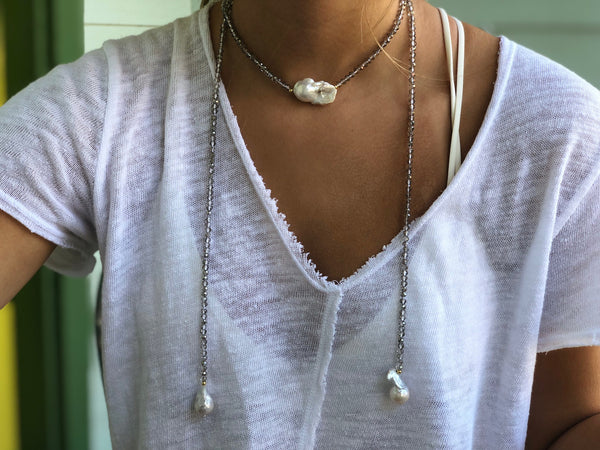 Lariat with stones and freshwater pearls