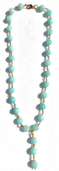 Y Necklace - Aqua Jade