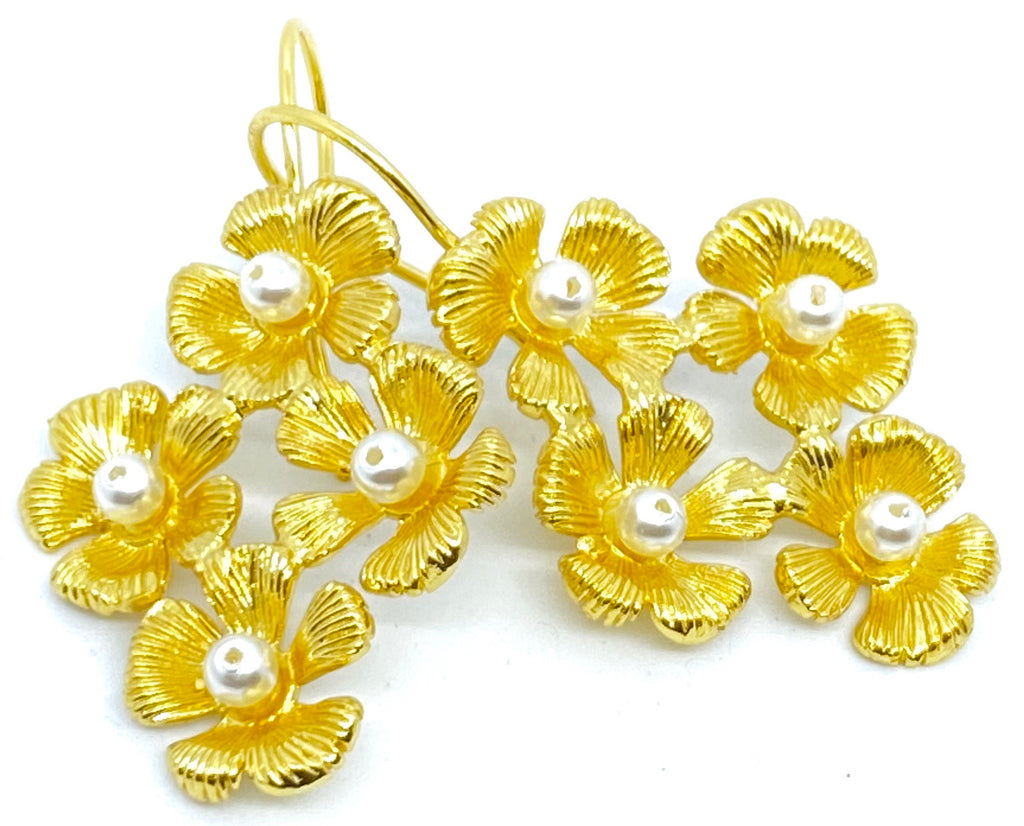 Flower Cluster Earring with Pearls