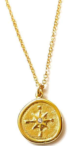 Compass Pendant on Gold Chain Necklace