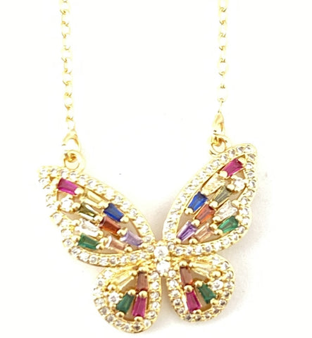 Crystal Rainbow Butterfly Necklace