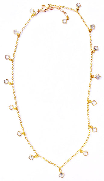 Hannah Gold Chain with Quartz Crystal Drops