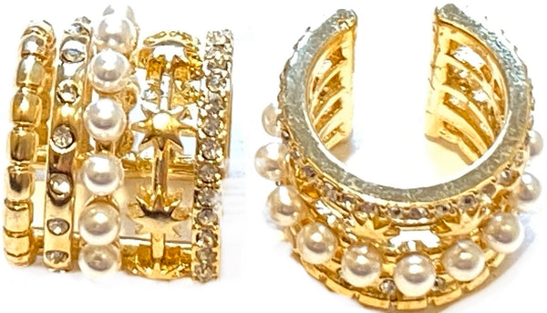 Gold and Pearl Ear Cuff Earrings