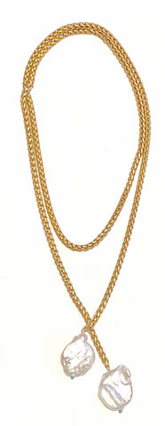 "Braided Matte Gold Chain Lariat with Baroque Pearls ""Mary Frances"""