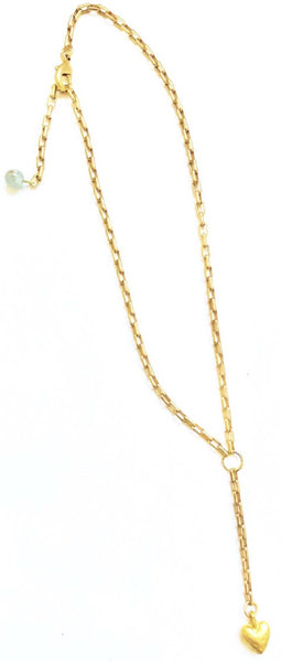 a Lizzie-Matte Gold Chain with Matte Heart