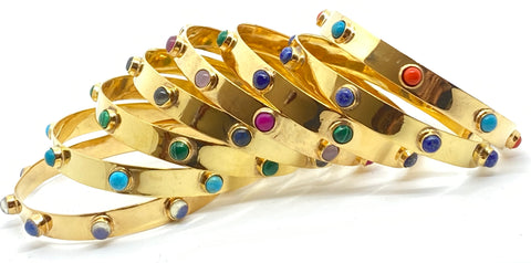 Gold Bangle with Stones - Skinny