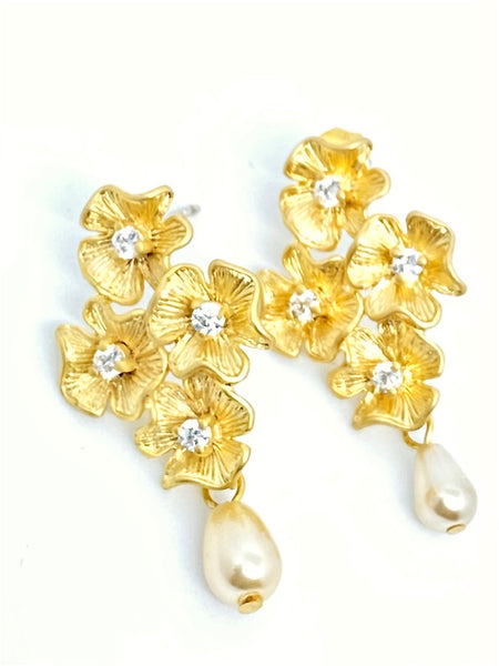 Four Flower Cluster Earring with Pearl Drop