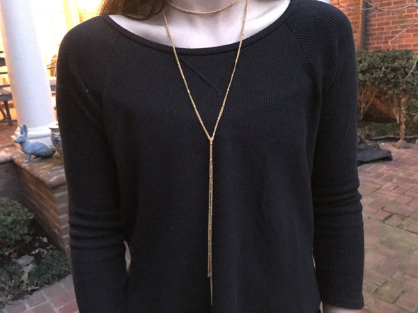 Gold Beaded Chain Lariat Necklace
