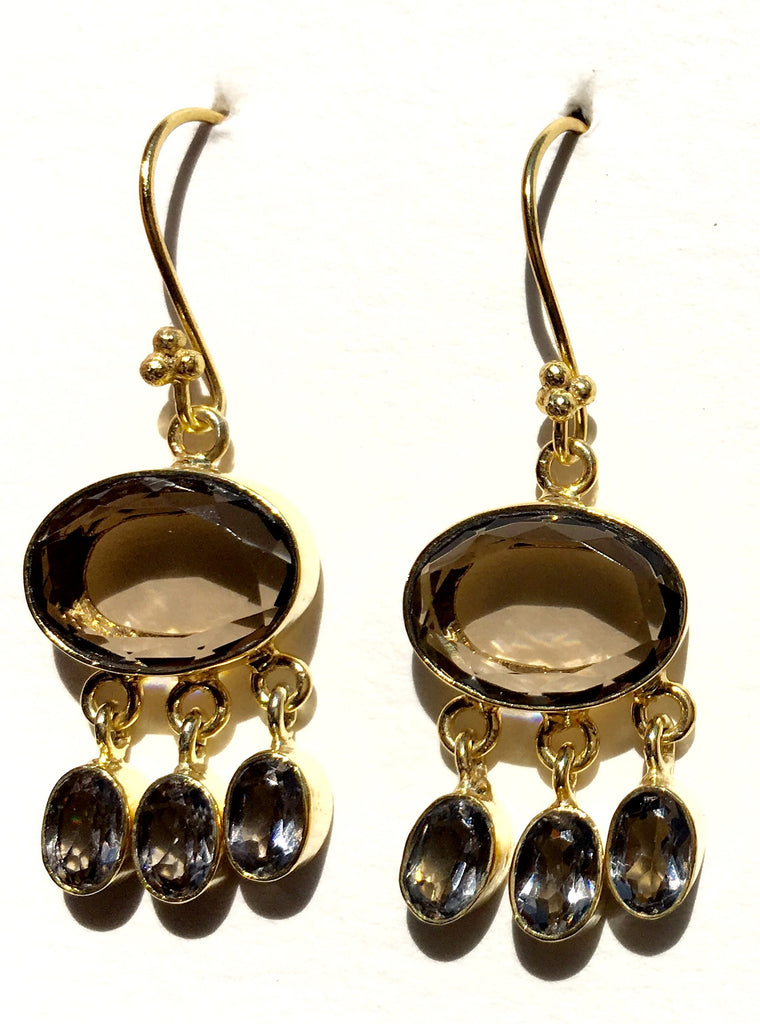 Giselle Semiprecious Dangling Stone Earrings-Smoky Quartz