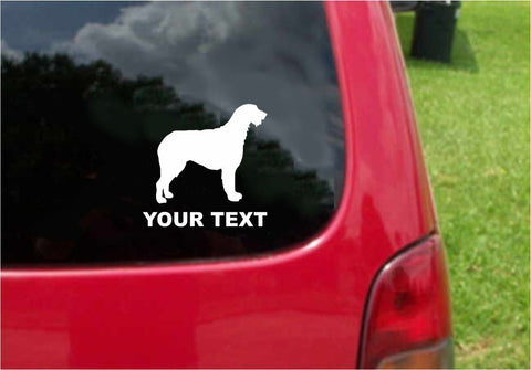 Irish Wolfhound  Dog Sticker Decal with custom text 20 Colors To Choose From.